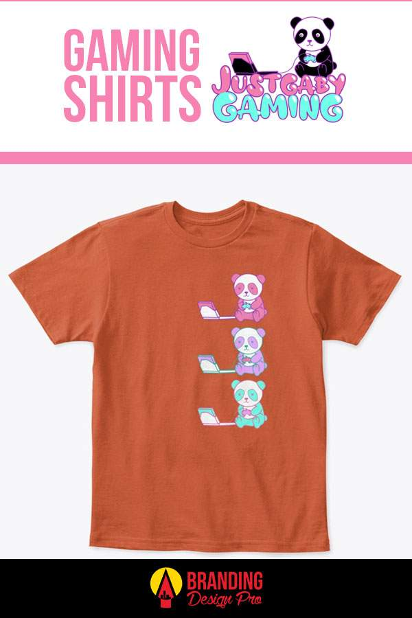Gaming T Shirt - Tricolor Panda Design